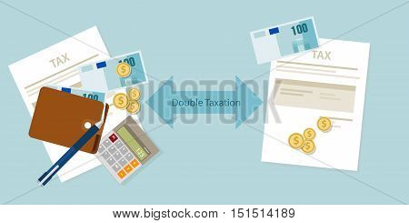 Double Taxation concept payment taxed twice vector