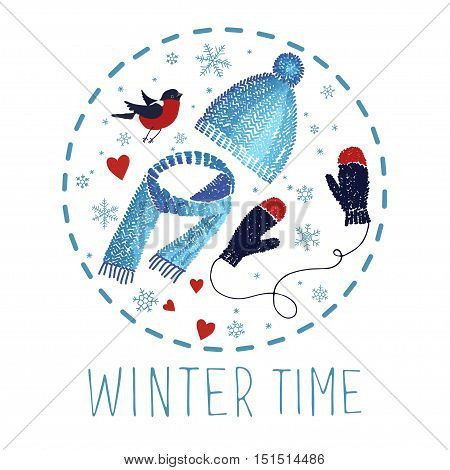 Winter vector card with knitted cap and mittens.