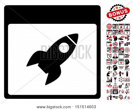 Rocket Calendar Page pictograph with bonus calendar and time management pictograph collection. Vector illustration style is flat iconic symbols, intensive red and black, white background.