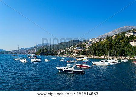 Bay of Kotor marina Porto Montenegro. Tivat Montenegro