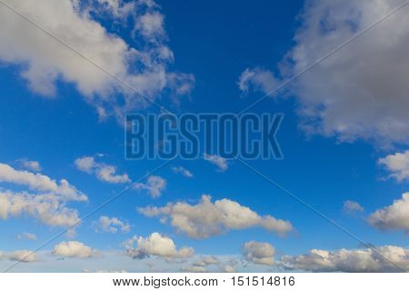 Natural sky and clouds background. Cloudy cover over mountains
