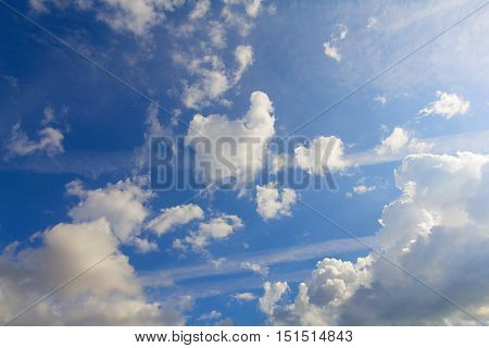 Blurred empty sky surface. blue sky background with tiny clouds. Cloudy blue sky abstract background. Selective focus concept. Nature Cloud abstract blue color cloudy copy space future heaven.
