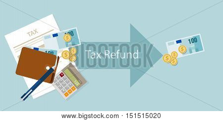 Tax refund money cash after calculation illustration vector