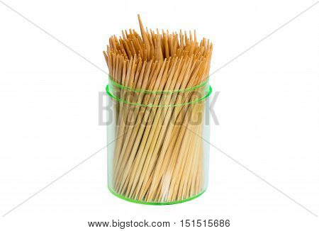Toothpicks in box isolated on white background.