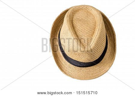 Straw hat is isolated on white background.
