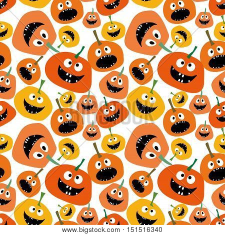 Pumpkin seamless pattern on white background Pumpkin seamless background Background for Halloween party yellow and orange pumpkin