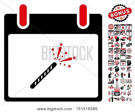 Sparkler Firecracker Calendar Day pictograph with bonus calendar and time management clip art. Vector illustration style is flat iconic symbols, intensive red and black, white background.
