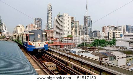 BANGKOK THAILAND - JULY 5 2016: Sky trains in Bangkok city. It is important urban transportation in heart of Bangkok.
