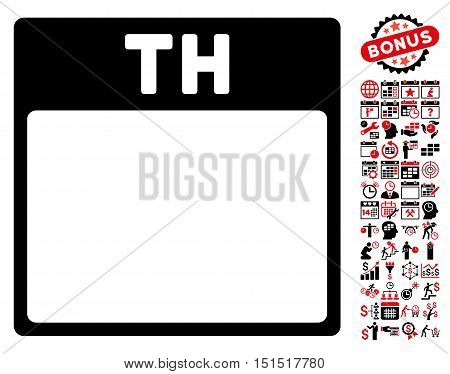 Thursday Calendar Page pictograph with bonus calendar and time management design elements. Vector illustration style is flat iconic symbols, intensive red and black, white background.