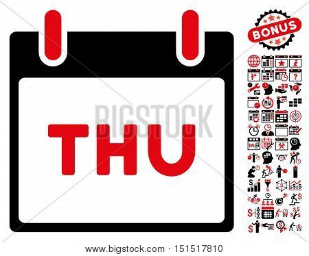 Thursday Calendar Page icon with bonus calendar and time management symbols. Vector illustration style is flat iconic symbols, intensive red and black, white background.