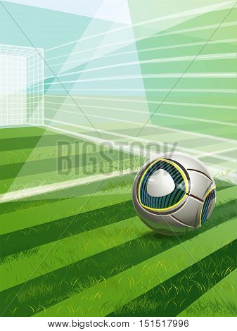Soccer Field With Goal, Ball And Text.