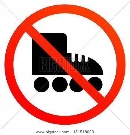 No roller or roller-skate sign, vector illustration