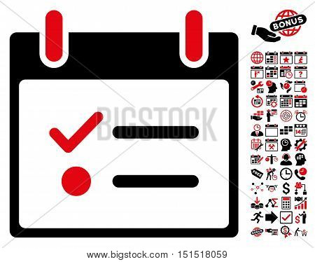 Todo List Calendar Day icon with bonus calendar and time management graphic icons. Vector illustration style is flat iconic symbols, intensive red and black, white background.