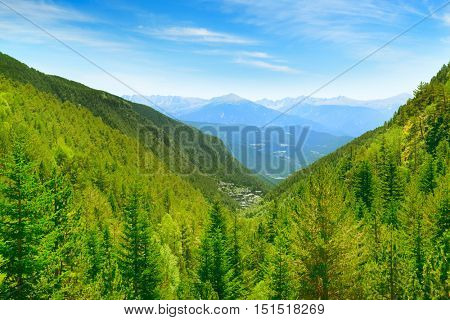 Picturesque mountains covered with forests and blue sky