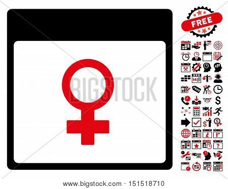 Venus Female Symbol Calendar Page pictograph with bonus calendar and time management pictograph collection. Vector illustration style is flat iconic symbols, intensive red and black, white background.