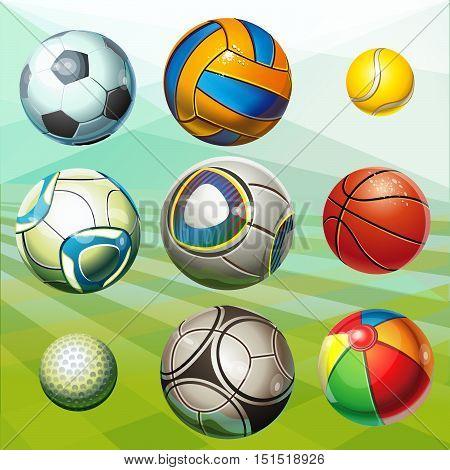Soccer balls, volleyball, tennis ball, golf ball, basketball, children's ball