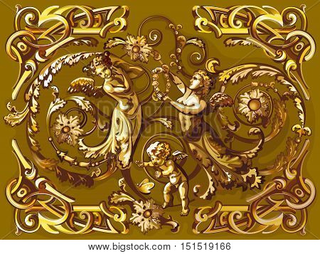 golden cupid and angels with arabesque ornament. Style of a baroque