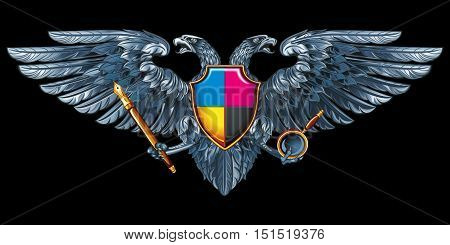 Coat of arms for the designer, or printers, or illustrator. Silver vector double-headed eagle with a pen and magnifier.