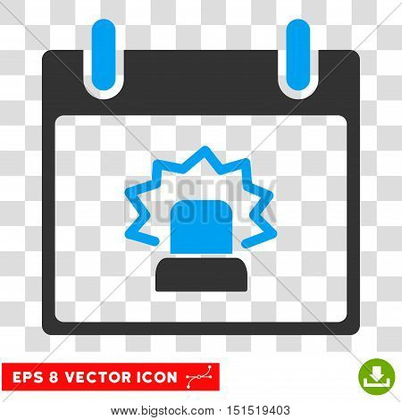 Vector Alert Calendar Day EPS vector pictograph. Illustration style is flat iconic bicolor blue and gray symbol on a transparent background.