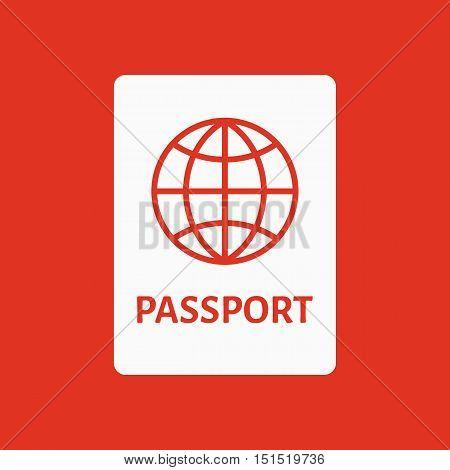 The passport icon. Travel symbol. Flat Vector illustration