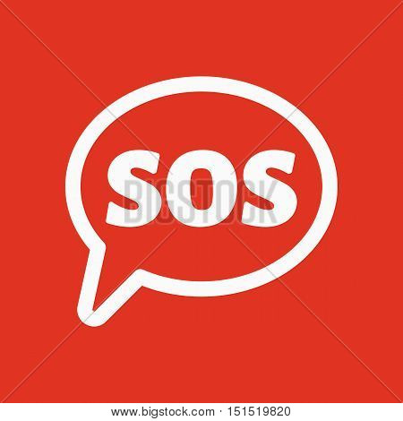 The sos speech bubble icon. Flat Vector illustration