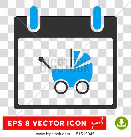 Vector Baby Carriage Calendar Day EPS vector icon. Illustration style is flat iconic bicolor blue and gray symbol on a transparent background.
