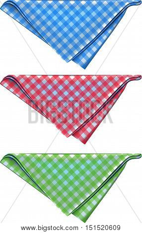 Multicolored napkins in the cage. Triangular form. Color: red, blue and green.