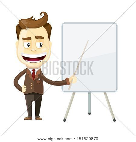 vector illustration of funny cartoon businessman presenting or showing something. Clean presentation board with place for your text.