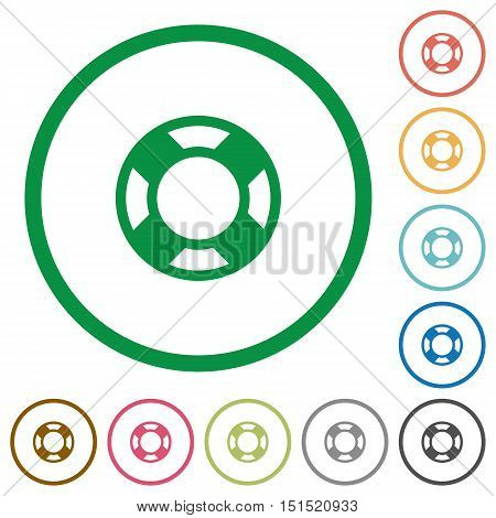 Set of lifesaver color round outlined flat icons on white background