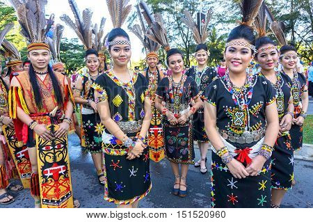 Kota Kinabalu,Sabah-Aug 31,2016:Multi ethnic with traditional wear during Malaysian National day,celebrating the of independence on 31st Aug 2016 at Kota Kinabalu,Sabah,Borneo.
