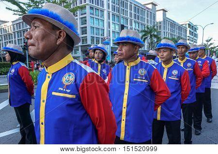 Kota Kinabalu,Sabah-Aug 31,2016:Malaysians wearing colorful costume celebrating the Malaysia National Day at Kota Kinabalu,Sabah,Borneo,Malaysia on 31st Aug 2016.