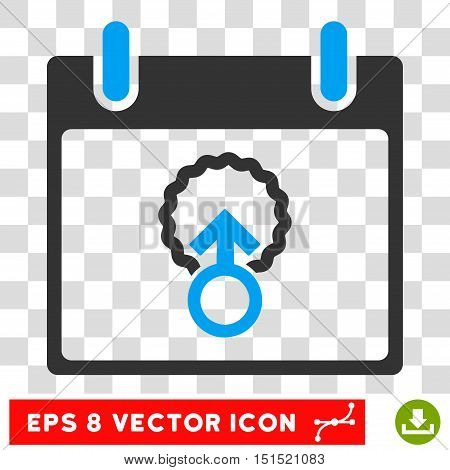Vector Cell Penetration Calendar Day EPS vector icon. Illustration style is flat iconic bicolor blue and gray symbol on a transparent background.