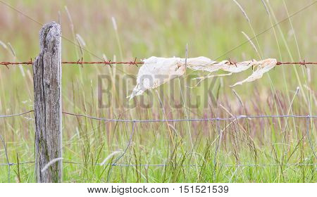 Unpleasant Barbed Wire With Rags