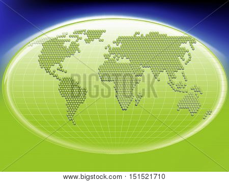 Vector green international globe of the world made of small globes around a cell