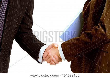 Hand shake business success on white background illustration.