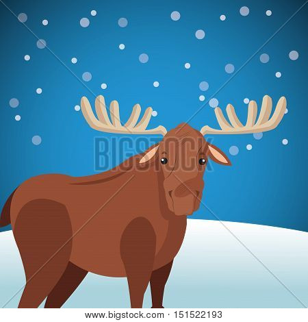 cute moose wit snowy background image vector illustration design