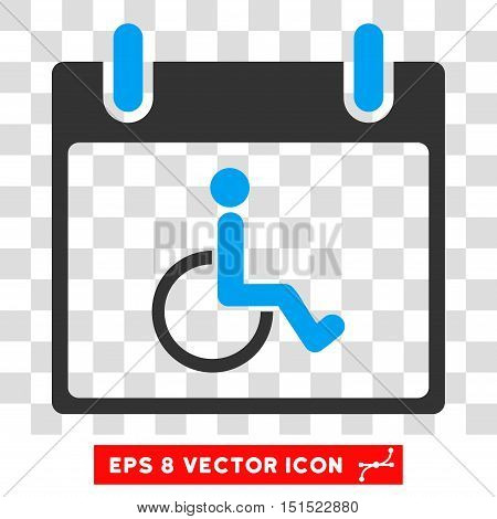 Vector Disabled Person Calendar Day EPS vector pictograph. Illustration style is flat iconic bicolor blue and gray symbol on a transparent background.