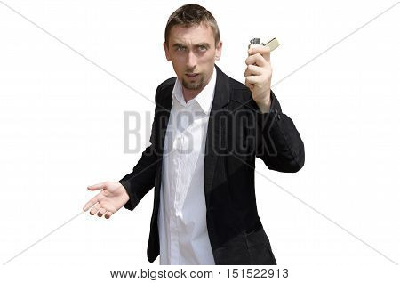 Young bearded man holding lighter on white background