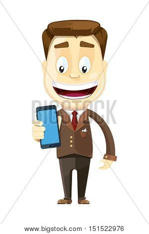 vector illustration of businessman showing a blank smart phone screen. Isolate on white background