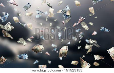 It is raining money . Mixed media