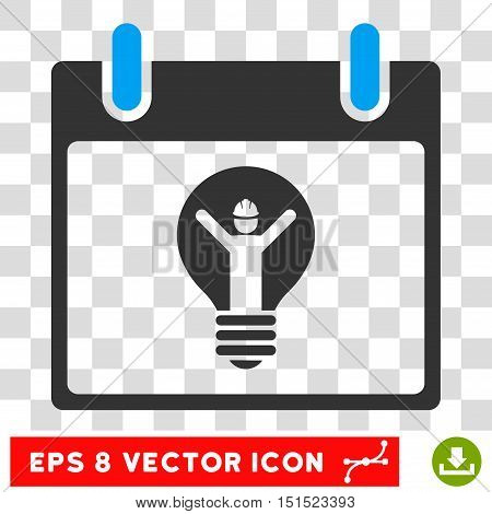 Vector Electrician Calendar Day EPS vector icon. Illustration style is flat iconic bicolor blue and gray symbol on a transparent background.
