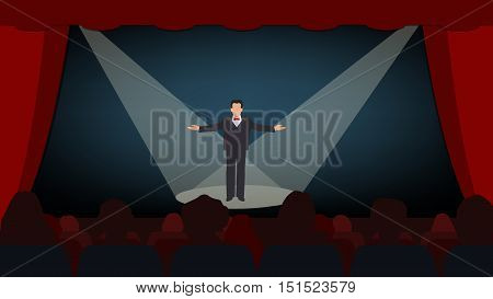 The scene with the open curtain the actor on the stage. Start the show. Vector