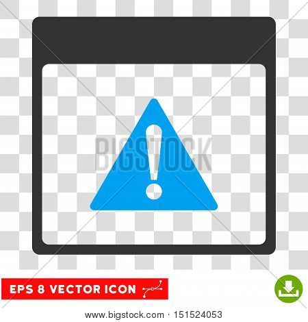 Vector Error Calendar Page EPS vector icon. Illustration style is flat iconic bicolor blue and gray symbol on a transparent background.