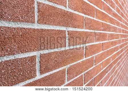 Close up of brick wall ending in infinity with shallow DOF.