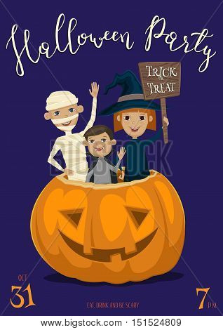 Halloween party banner with funny kids in carnival costumes mummy, vampire and witch sitting in pumpkin with sign - Trick or Treat. Happy Halloween children, isolated cartoon vector illustration