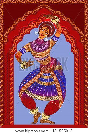 Beautiful girl dancing Indian classical dance n the background ornamented arches.