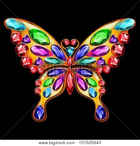 Gold brooch in the shape of a butterfly with gems. Butterfly jewelry made of gold and precious stones.