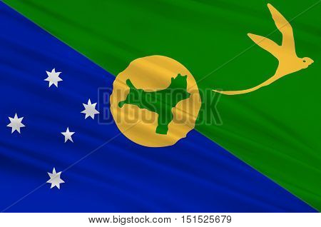 Flag of Christmas Island officially the Territory of Christmas Island is a territory of Australia in the Indian Ocean comprising the island of the same name. 3d illustration