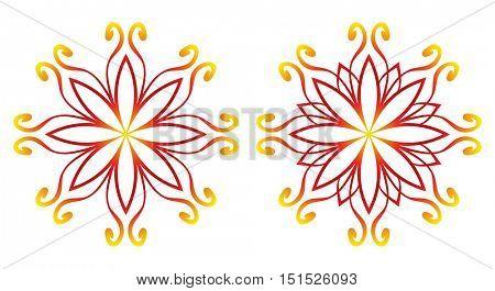 Round flower pattern, Circular ornament design element set