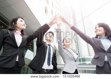 business people Give five in hongkong asian